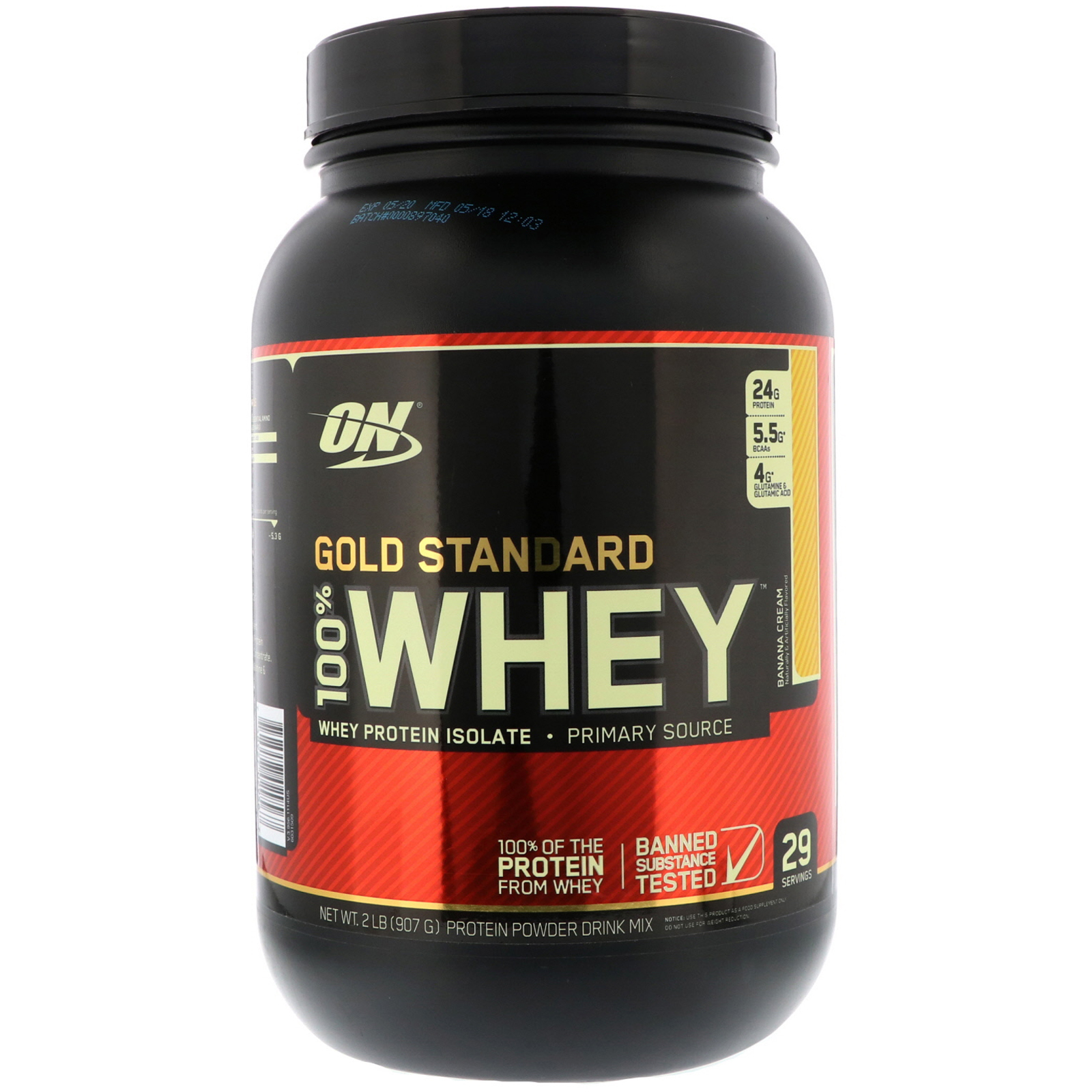 100% Whey Gold Standard 2lb banan. - ON