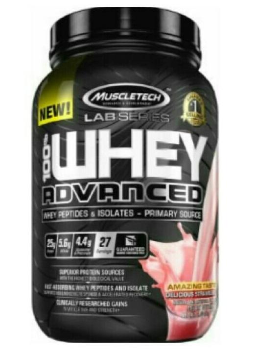 100% Whey Advanced 2lb Lab Series straw. - MT